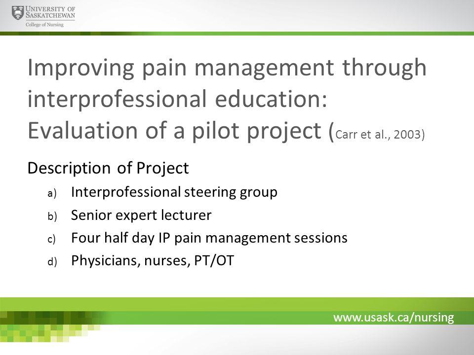 www.usask.ca/nursing Improving pain management through interprofessional education: Evaluation of a pilot project ( Carr et al., 2003) Description of