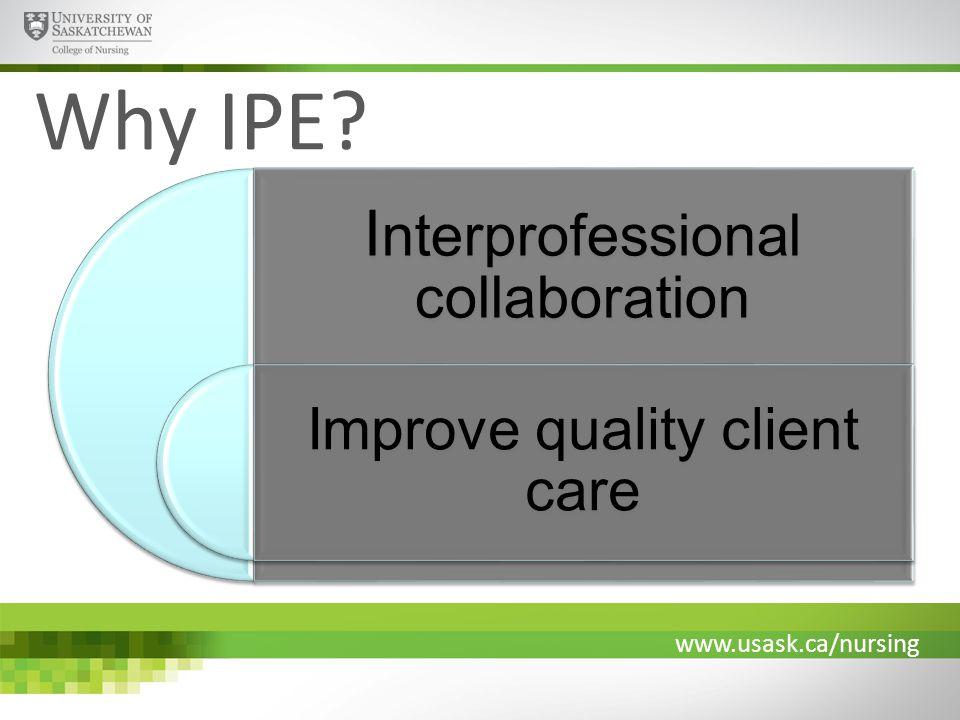 www.usask.ca/nursing Why IPE? I nterprofessional collaboration Improve quality client care