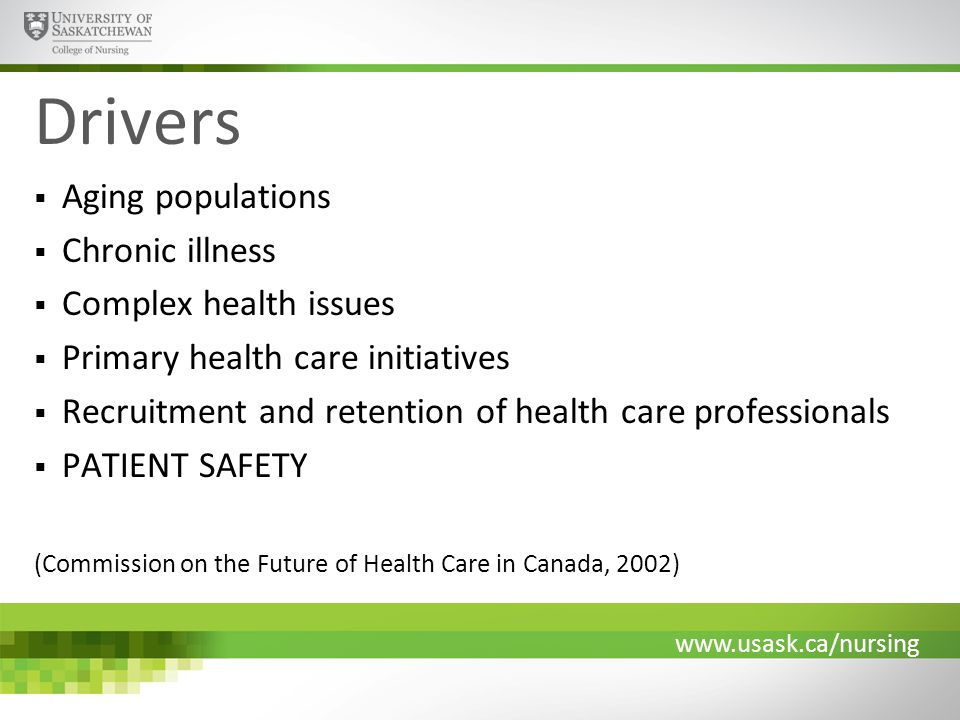 www.usask.ca/nursing Drivers  Aging populations  Chronic illness  Complex health issues  Primary health care initiatives  Recruitment and retention of health care professionals  PATIENT SAFETY (Commission on the Future of Health Care in Canada, 2002)