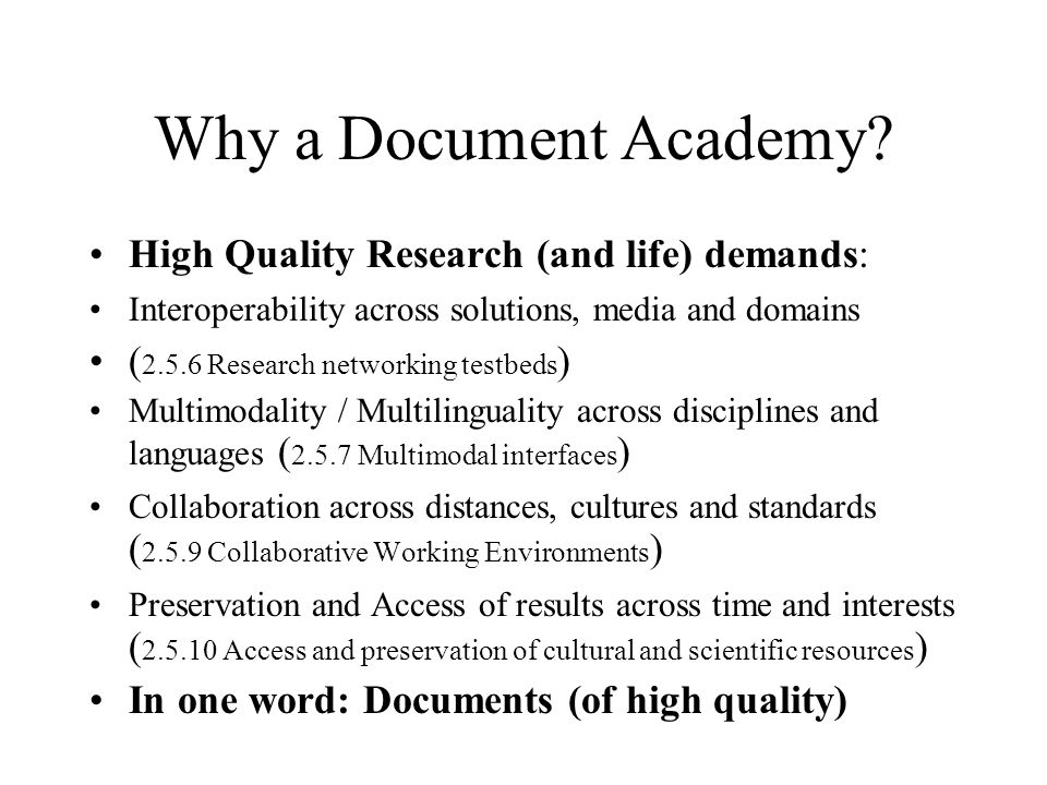 Why a Document Academy.