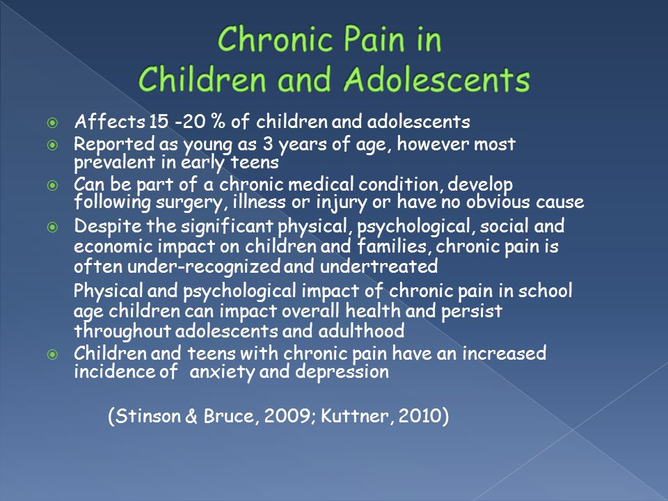  Affects 15 -20 % of children and adolescents  Reported as young as 3 years of age, however most prevalent in early teens  Can be part of a chronic