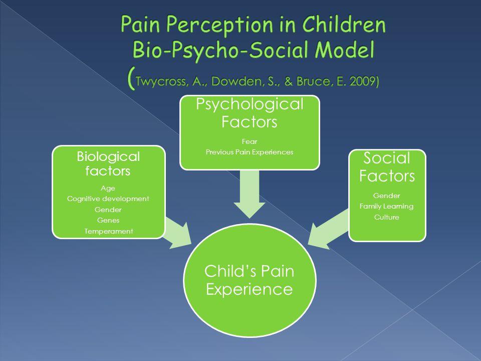 Child's Pain Experience Biological factors Age Cognitive development Gender Genes Temperament Psychological Factors Fear Previous Pain Experiences Soc