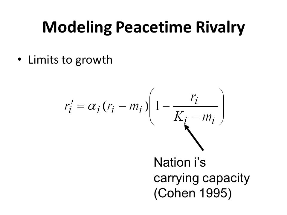 Modeling Peacetime Rivalry Limits to growth Nation i's carrying capacity (Cohen 1995)