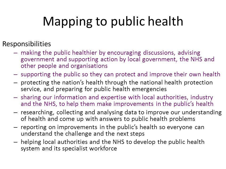Mapping to public health Responsibilities – making the public healthier by encouraging discussions, advising government and supporting action by local