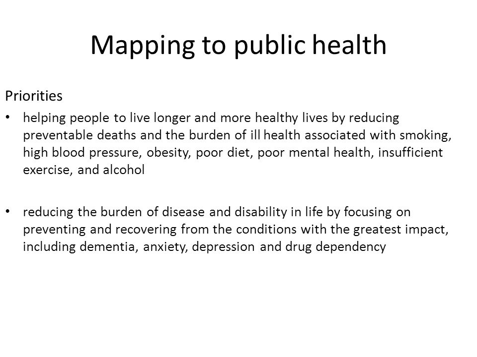 Mapping to public health Priorities helping people to live longer and more healthy lives by reducing preventable deaths and the burden of ill health a
