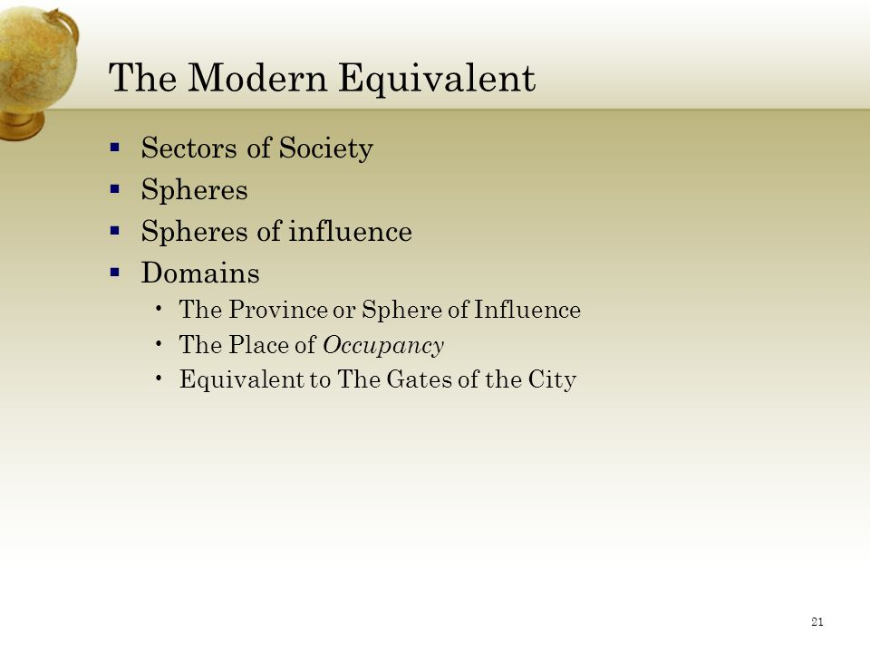 21 The Modern Equivalent  Sectors of Society  Spheres  Spheres of influence  Domains The Province or Sphere of Influence The Place of Occupancy Equivalent to The Gates of the City