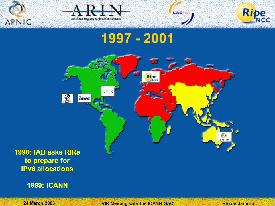 Rio de Janeiro 24 March 2003 RIR Meeting with the ICANN GAC 1997 - 2001 1998: IAB asks RIRs to prepare for IPv6 allocations 1999: ICANN