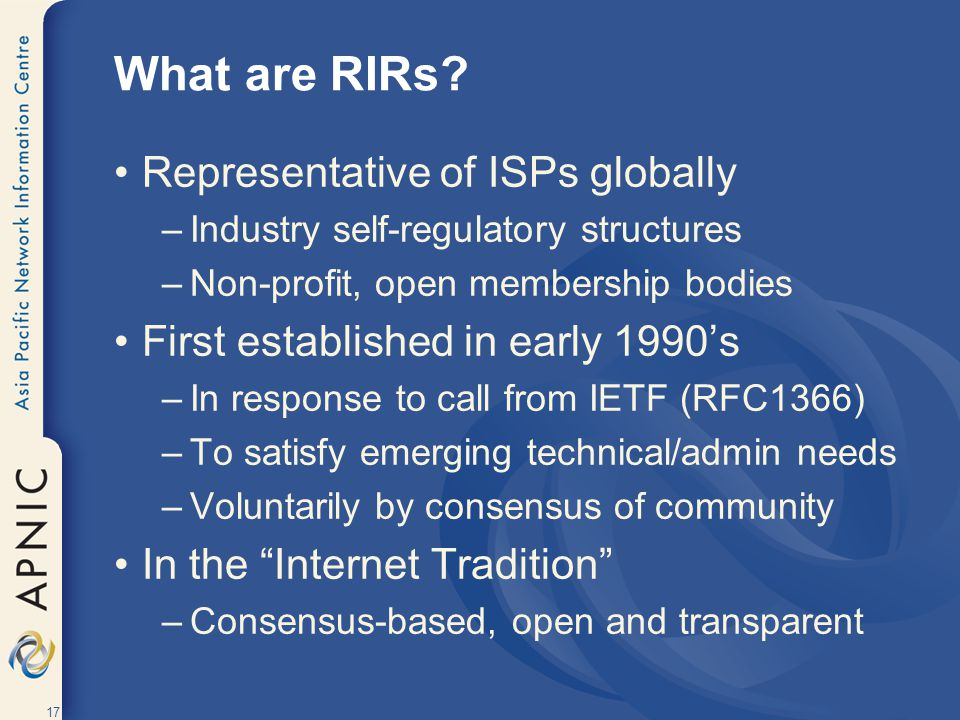 17 What are RIRs.