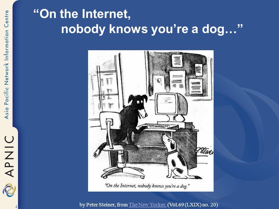 5 www.google.com www.redhat.com www.ebay.com www.dogs.biz www.apnic.net www.gnso.org www.ebay.com www.doggie.com www.ietf.org 216.239.39.99 66.187.232.50 66.135.208.101 209.217.36.32 202.12.29.20 199.166.24.5 66.135.208.88 198.41.3.45 4.17.168.6 On the Internet… you are nothing but an IP Address.