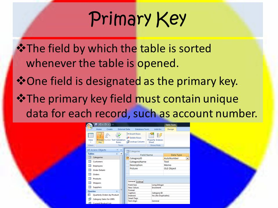 Primary Key  The field by which the table is sorted whenever the table is opened.  One field is designated as the primary key.  The primary key fie
