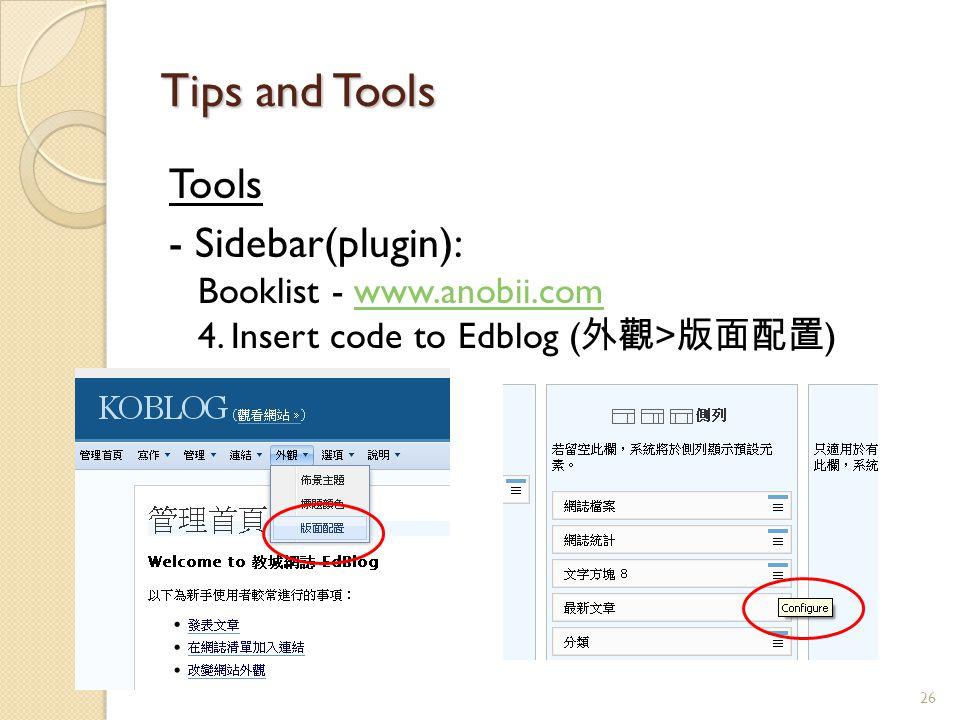 Tools - Sidebar(plugin): Booklist - www.anobii.com 4.
