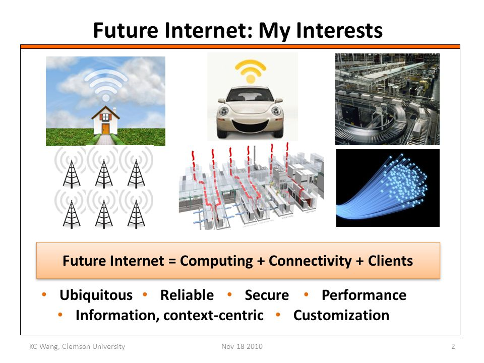 Future Internet: My Interests Ubiquitous KC Wang, Clemson UniversityNov 18 20102 Reliable Performance Secure Information, context-centric Customization Future Internet = Computing + Connectivity + Clients