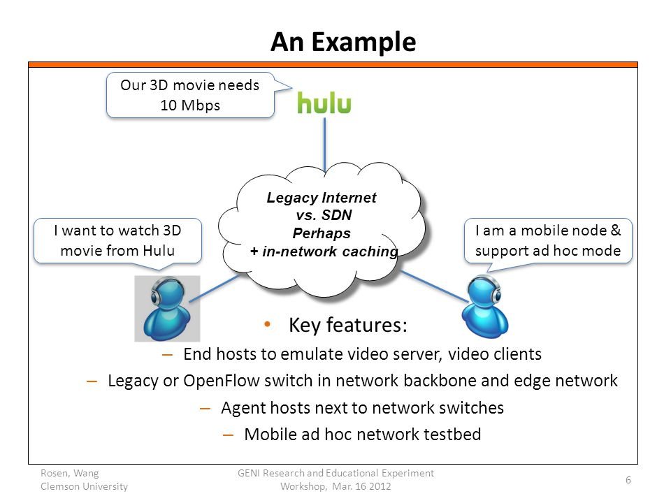 An Example Key features: – End hosts to emulate video server, video clients – Legacy or OpenFlow switch in network backbone and edge network – Agent hosts next to network switches – Mobile ad hoc network testbed Rosen, Wang Clemson University GENI Research and Educational Experiment Workshop, Mar.