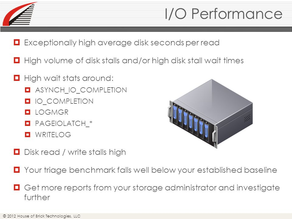© 2012 House of Brick Technologies, LLC I/O Performance  Exceptionally high average disk seconds per read  High volume of disk stalls and/or high disk stall wait times  High wait stats around:  ASYNCH_IO_COMPLETION  IO_COMPLETION  LOGMGR  PAGEIOLATCH_*  WRITELOG  Disk read / write stalls high  Your triage benchmark falls well below your established baseline  Get more reports from your storage administrator and investigate further