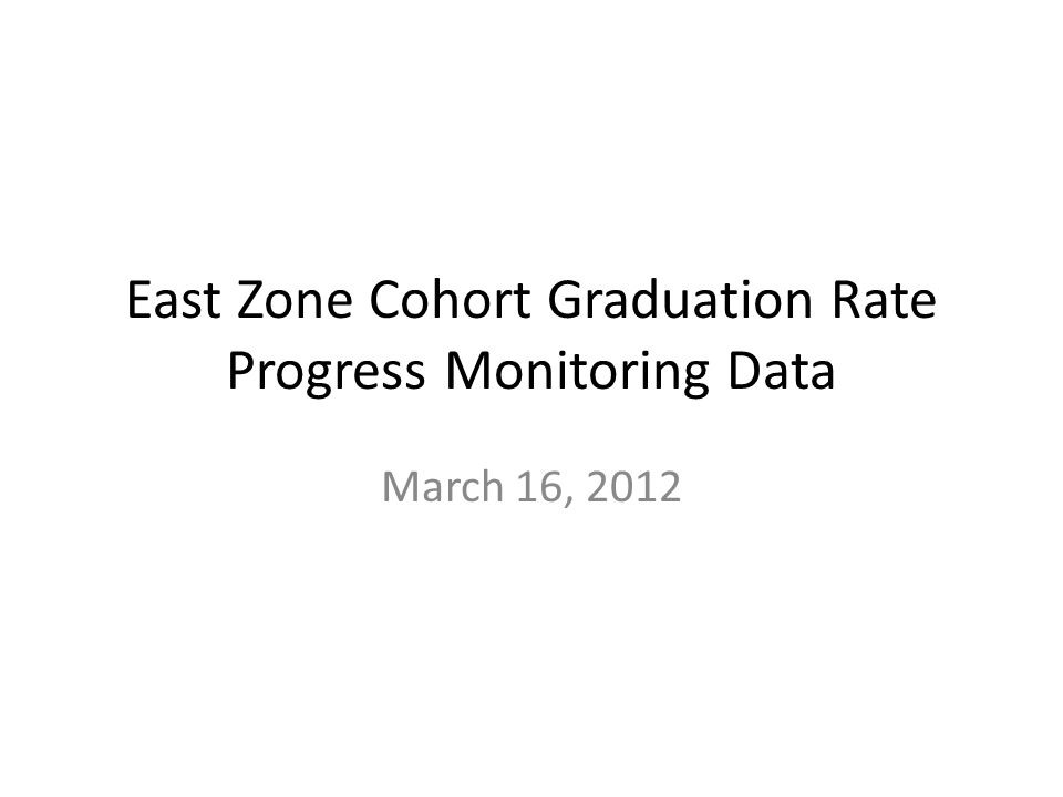 East Zone Cohort Graduation Rate Progress Monitoring Data March 16, 2012