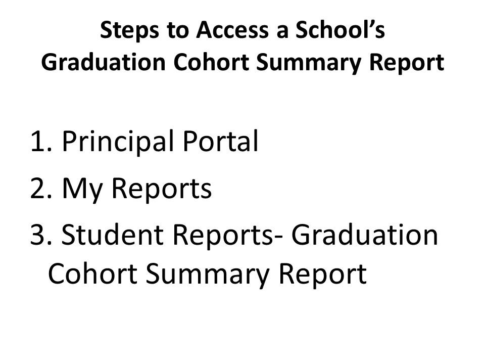 Steps to Access a School's Graduation Cohort Summary Report 1.
