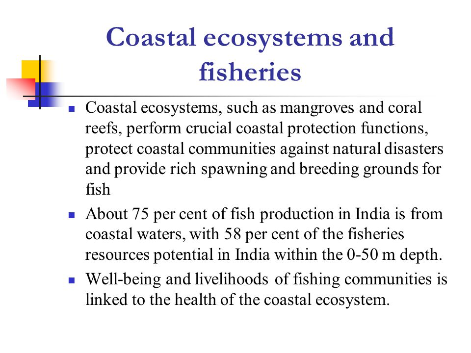 Coastal ecosystems and fisheries Coastal ecosystems, such as mangroves and coral reefs, perform crucial coastal protection functions, protect coastal communities against natural disasters and provide rich spawning and breeding grounds for fish About 75 per cent of fish production in India is from coastal waters, with 58 per cent of the fisheries resources potential in India within the 0-50 m depth.