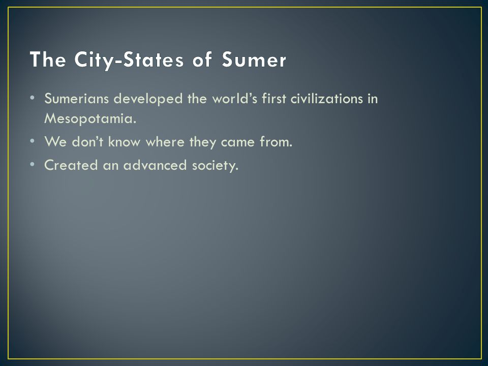 Most Sumerians were farmers.Lived in RURAL areas.