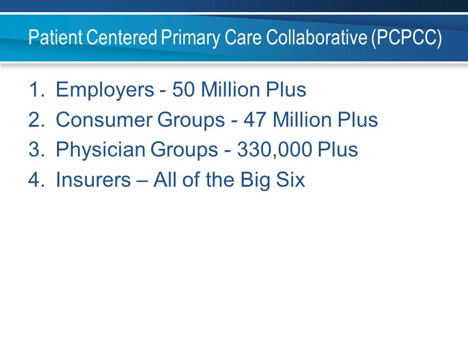 Patient Centered Primary Care Collaborative (PCPCC) 1.Employers - 50 Million Plus 2.Consumer Groups - 47 Million Plus 3.Physician Groups - 330,000 Plu