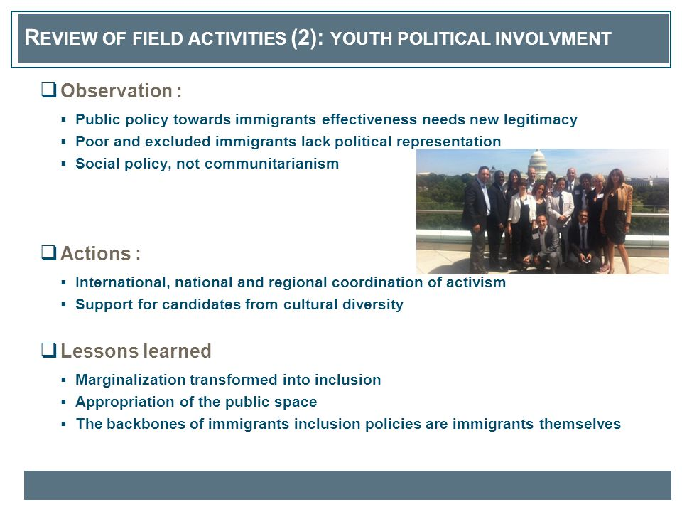 R EVIEW OF FIELD ACTIVITIES (2): YOUTH POLITICAL INVOLVMENT  Observation :  Public policy towards immigrants effectiveness needs new legitimacy  Po