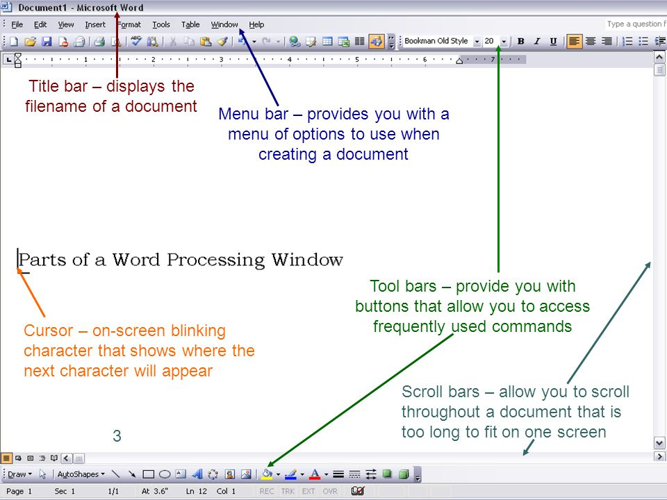 3 Title bar – displays the filename of a document Menu bar – provides you with a menu of options to use when creating a document Tool bars – provide y