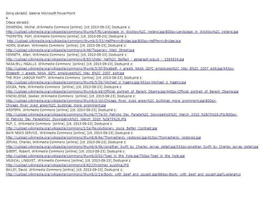 Zdroj obrázků Galerie Microsoft PowerPoint a Citace obrázků OSMENDA, Michal.