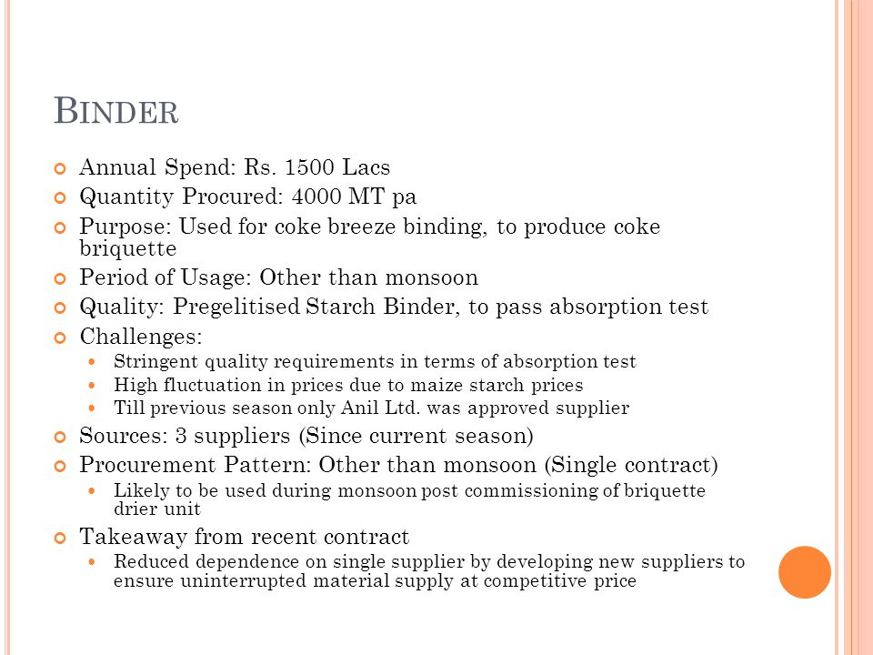 B INDER Annual Spend: Rs. 1500 Lacs Quantity Procured: 4000 MT pa Purpose: Used for coke breeze binding, to produce coke briquette Period of Usage: Ot