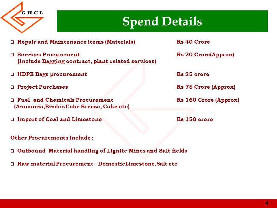 4 Spend Details  Repair and Maintenance items (Materials) Rs 40 Crore  Services ProcurementRs 20 Crore(Approx) (Include Bagging contract, plant related services)  HDPE Bags procurementRs 25 crore  Project PurchasesRs 75 Crore (Approx)  Fuel and Chemicals Procurement Rs 160 Crore (Approx) (Ammonia,Binder,Coke Breeze, Coke etc)  Import of Coal and LimestoneRs 150 crore Other Procurements include :  Outbound Material handling of Lignite Mines and Salt fields  Raw material Procurement- DomesticLimestone,Salt etc