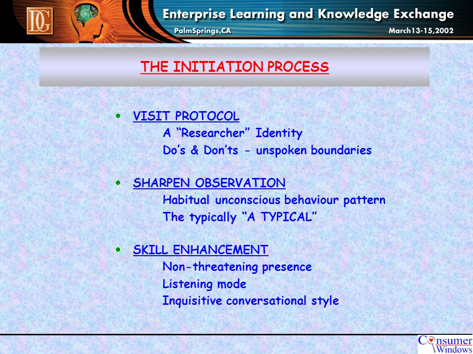THE INITIATION PROCESS  VISIT PROTOCOL A Researcher Identity Do's & Don'ts - unspoken boundaries  SHARPEN OBSERVATION Habitual unconscious behaviour pattern The typically A TYPICAL  SKILL ENHANCEMENT Non-threatening presence Listening mode Inquisitive conversational style
