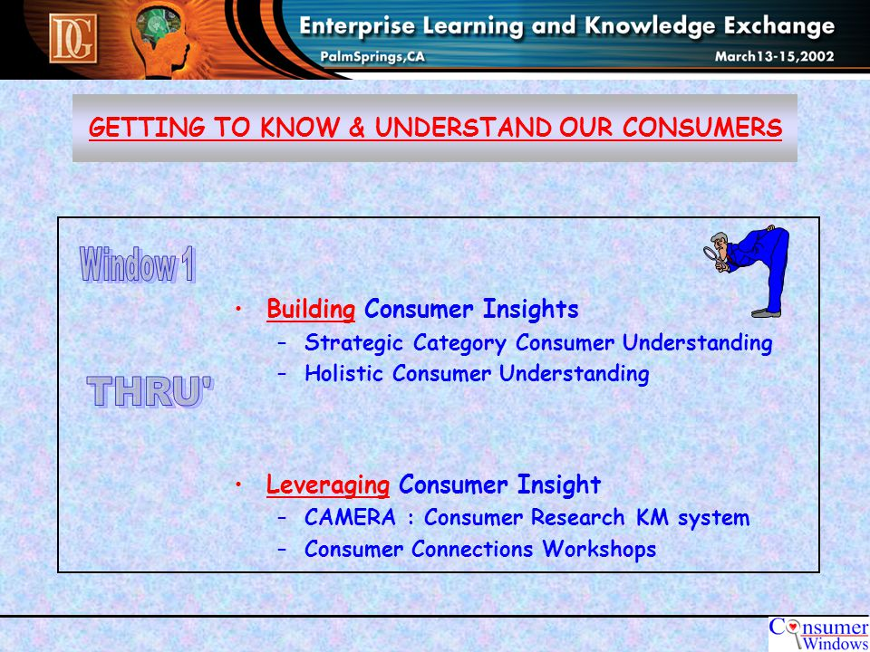 GETTING TO KNOW & UNDERSTAND OUR CONSUMERS Building Consumer Insights –Strategic Category Consumer Understanding –Holistic Consumer Understanding Leveraging Consumer Insight –CAMERA : Consumer Research KM system –Consumer Connections Workshops