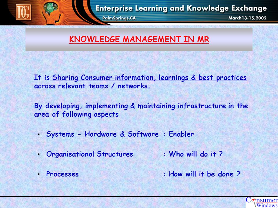 STAGE 2 : CONSOLIDATION OF KEY FINDINGS KNOWLEDGE MANAGEMENT IN MR STAGE 1 : SHARING INFORMATION -Capturingelectronically -all consumer information (MR Reports / Summaries ) - How to do guidelines -Structured database & network for quick access.
