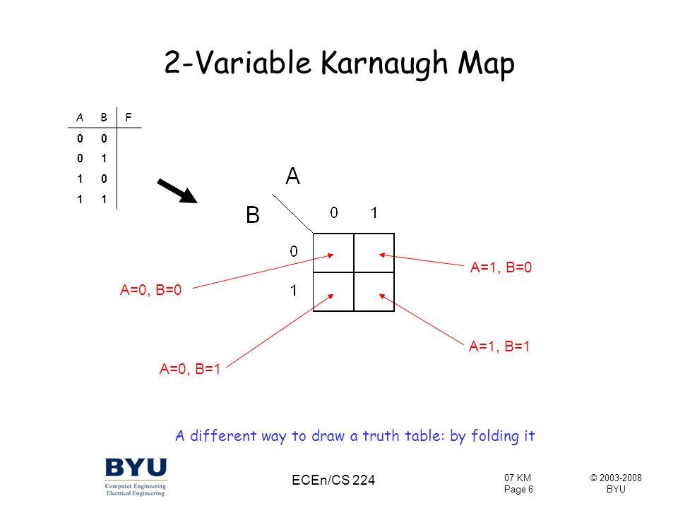 © 2003-2008 BYU 07 KM Page 7 ECEn/CS 224 Karnaugh Map In a K-map, physical adjacency does imply gray code adjacency F = A'B + AB = BF =A'B' + A'B = A'