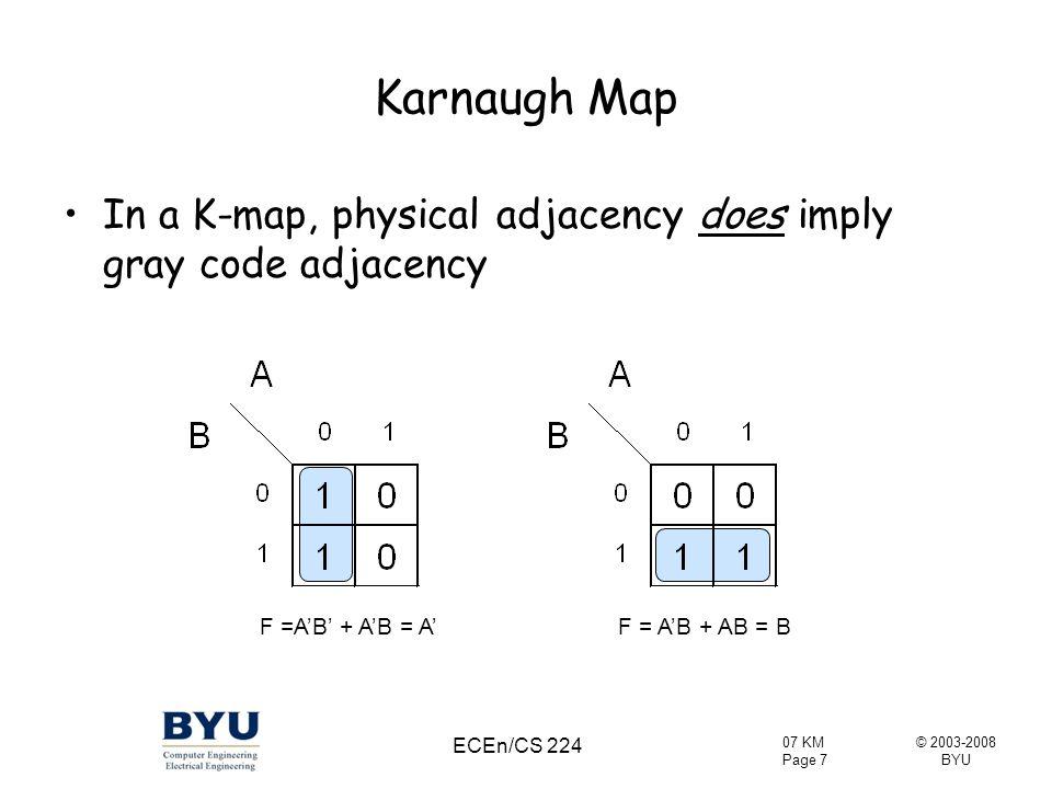 © 2003-2008 BYU 07 KM Page 28 ECEn/CS 224 Boolean Algebra to Karnaugh Map Plot: ab'c' + bc + a'