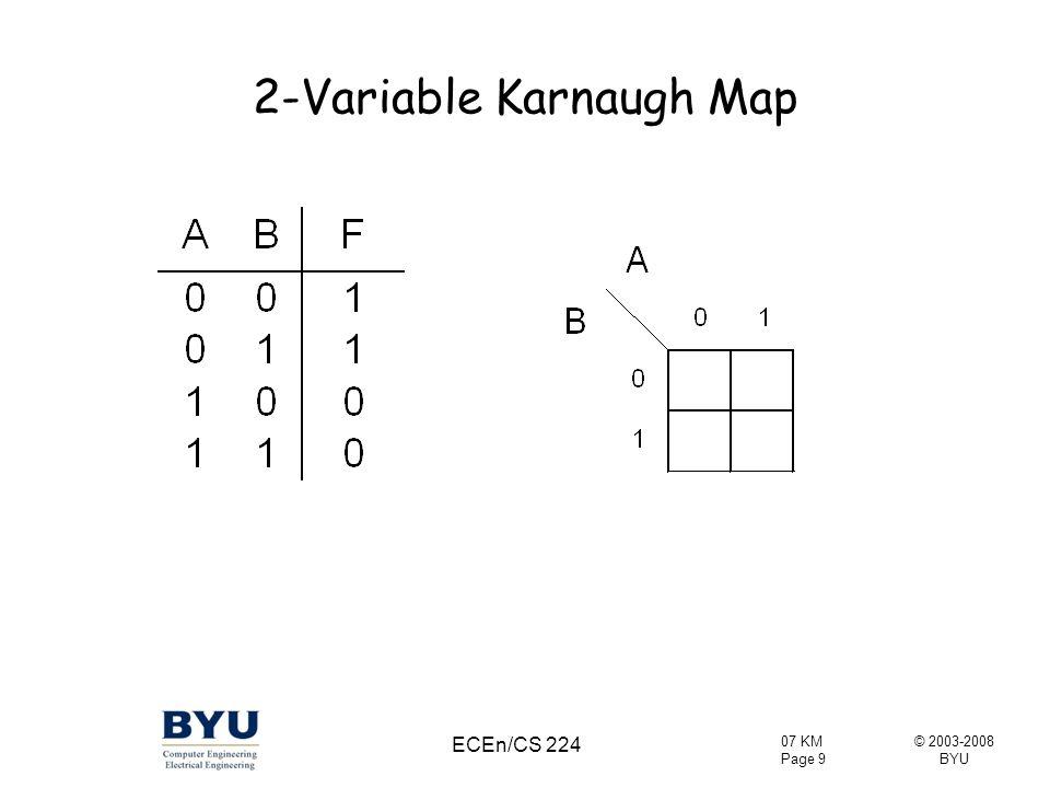 © 2003-2008 BYU 07 KM Page 10 ECEn/CS 224 2-Variable Karnaugh Map
