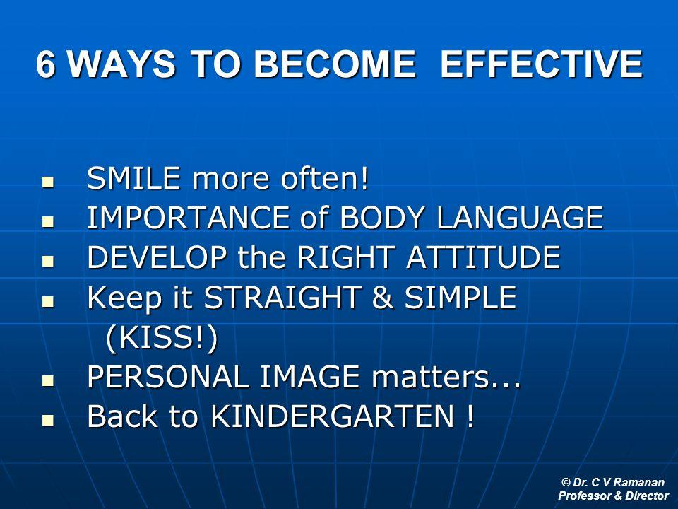© Dr. C V Ramanan Professor & Director 6 WAYS TO BECOME EFFECTIVE SMILE more often! SMILE more often! IMPORTANCE of BODY LANGUAGE IMPORTANCE of BODY L