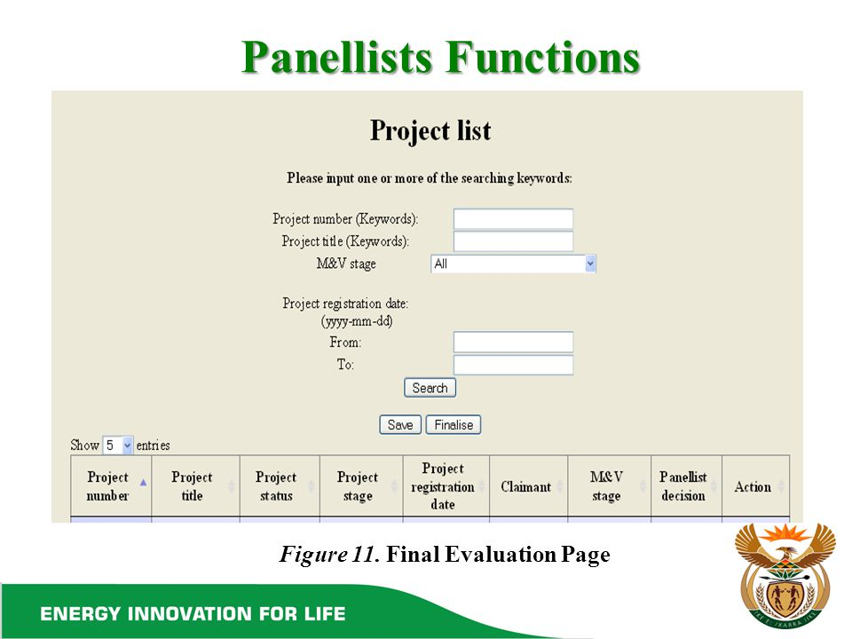 Panellists Functions Figure 11. Final Evaluation Page