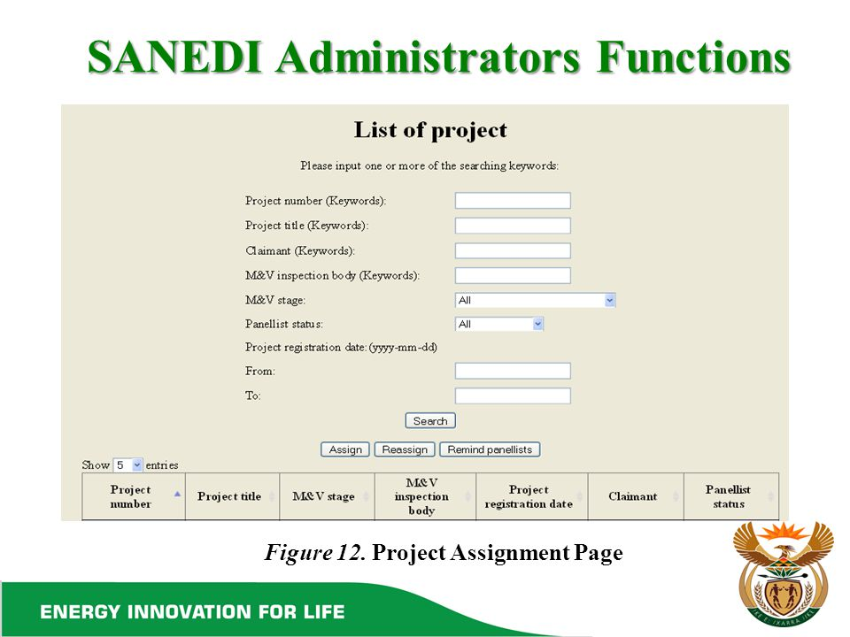 SANEDI Administrators Functions Figure 12. Project Assignment Page