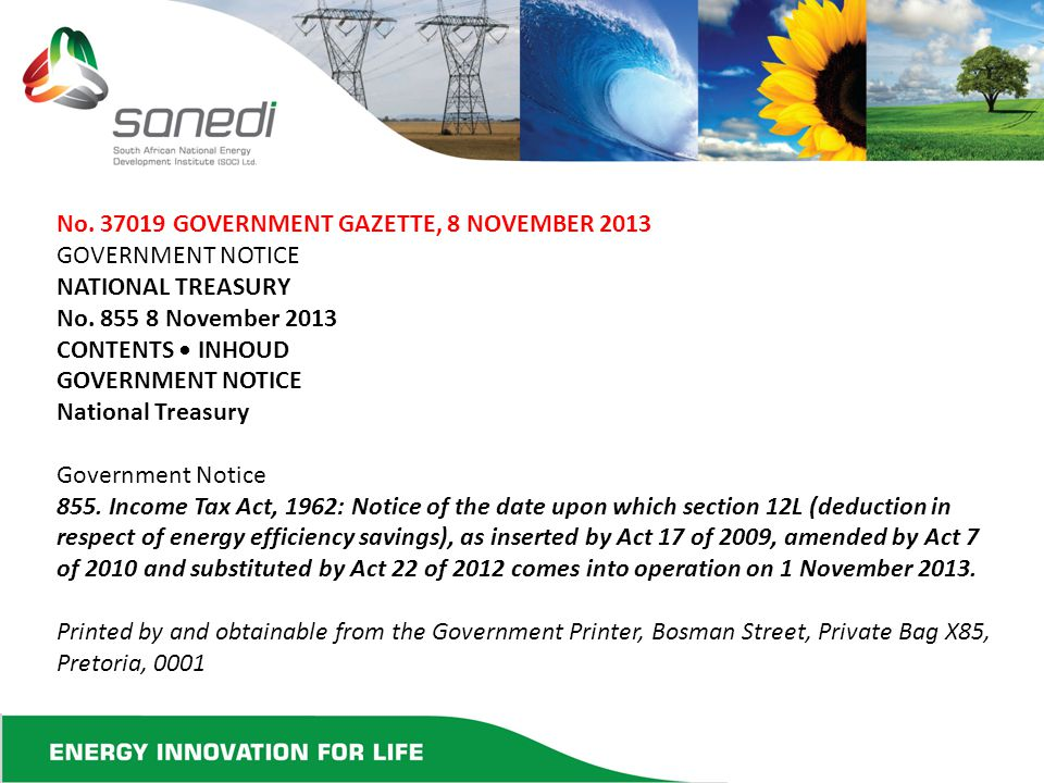 No. 37019 GOVERNMENT GAZETTE, 8 NOVEMBER 2013 GOVERNMENT NOTICE NATIONAL TREASURY No.