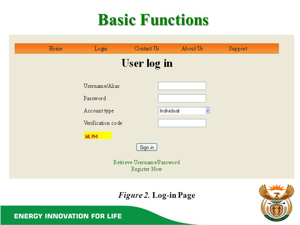 Basic Functions Figure 2. Log-in Page