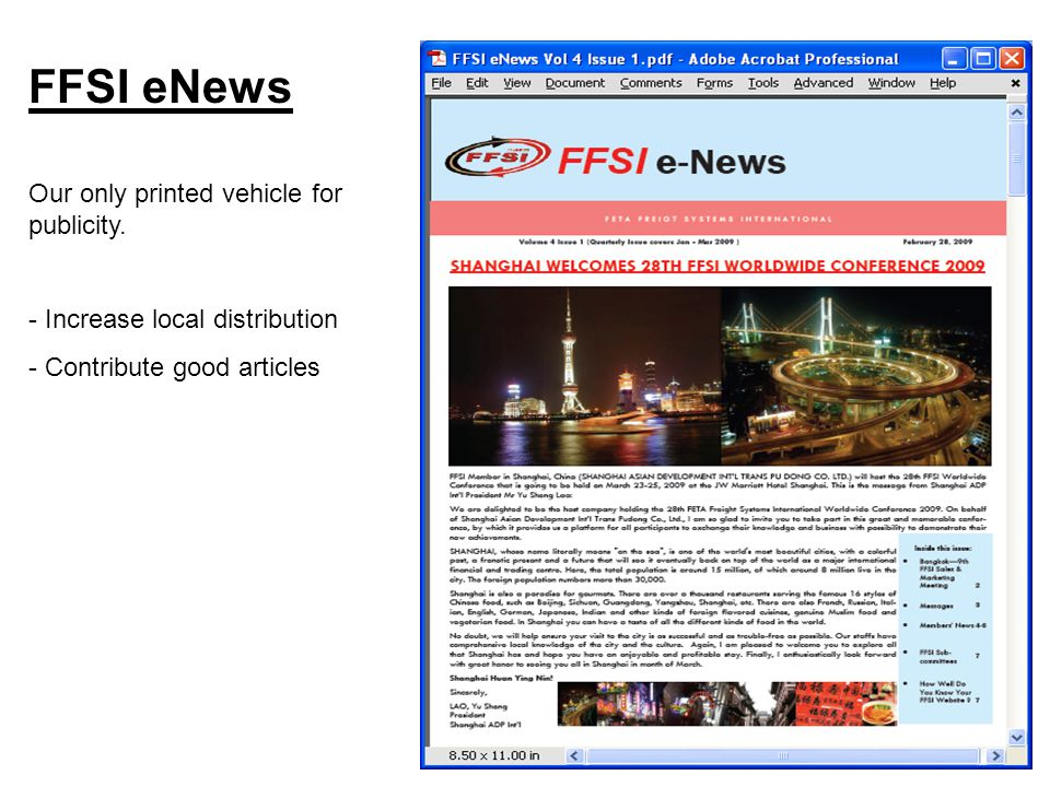 FFSI eNews Our only printed vehicle for publicity.