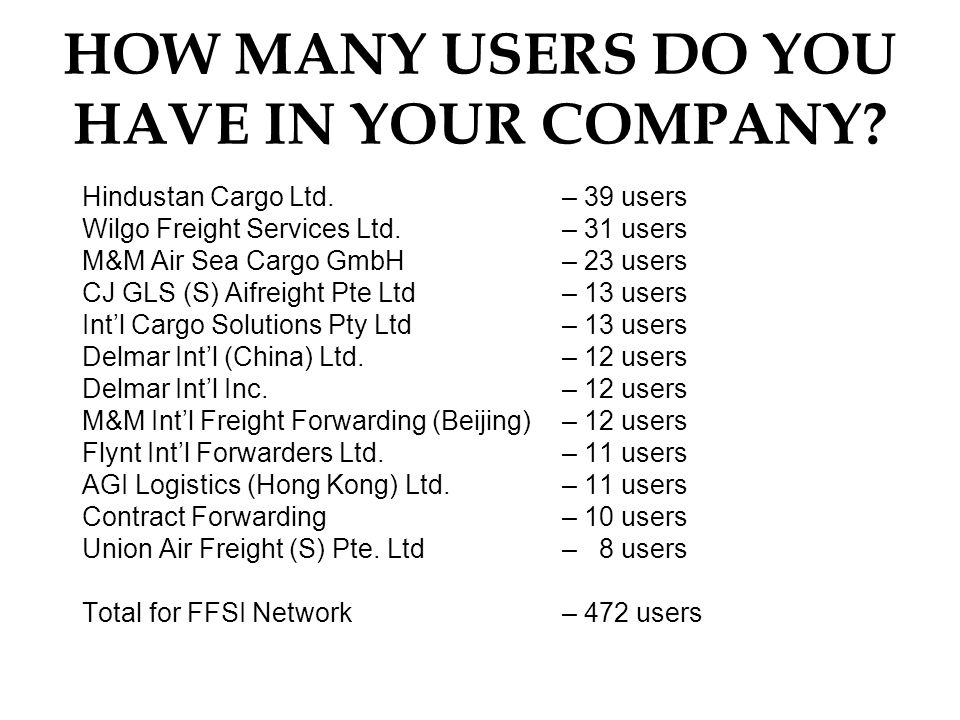 HOW MANY USERS DO YOU HAVE IN YOUR COMPANY. Hindustan Cargo Ltd.
