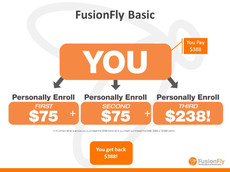 4 Fusion Fly Memberships to Choose From FusionFly Basic: Book all your travel at amazing prices! FusionFly Plus: Save on all travel, receive referral