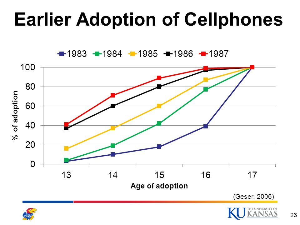 Earlier Adoption of Cellphones 23 (Geser, 2006)