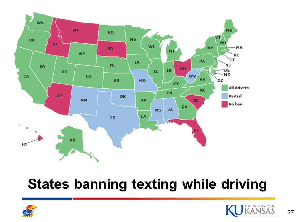 States banning texting while driving 27