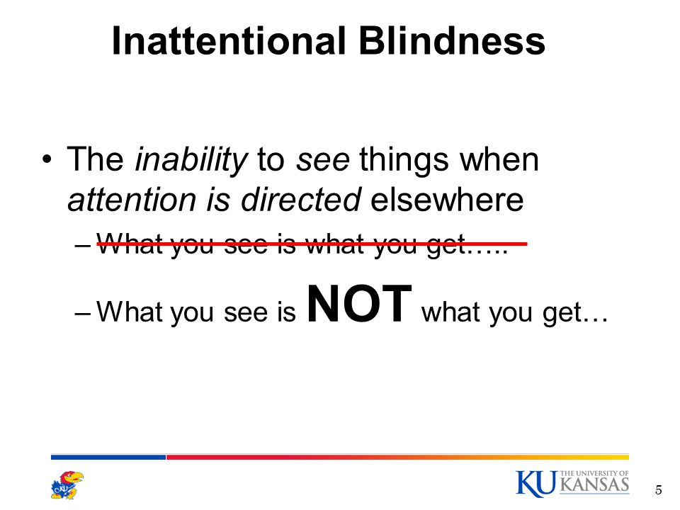 Inattentional Blindness The inability to see things when attention is directed elsewhere –What you see is what you get…..