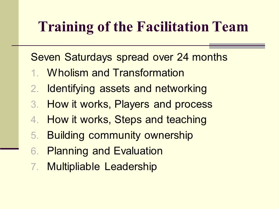 Training of the Facilitation Team Seven Saturdays spread over 24 months 1. Wholism and Transformation 2. Identifying assets and networking 3. How it w
