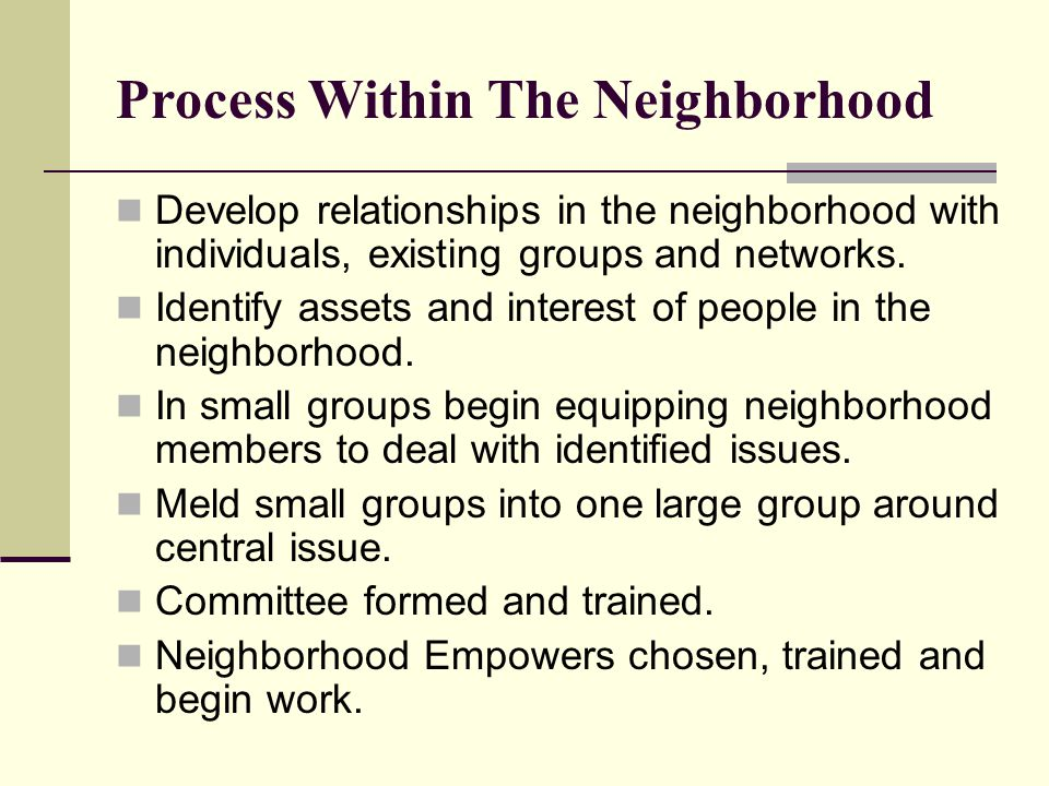 Process Within The Neighborhood Develop relationships in the neighborhood with individuals, existing groups and networks. Identify assets and interest