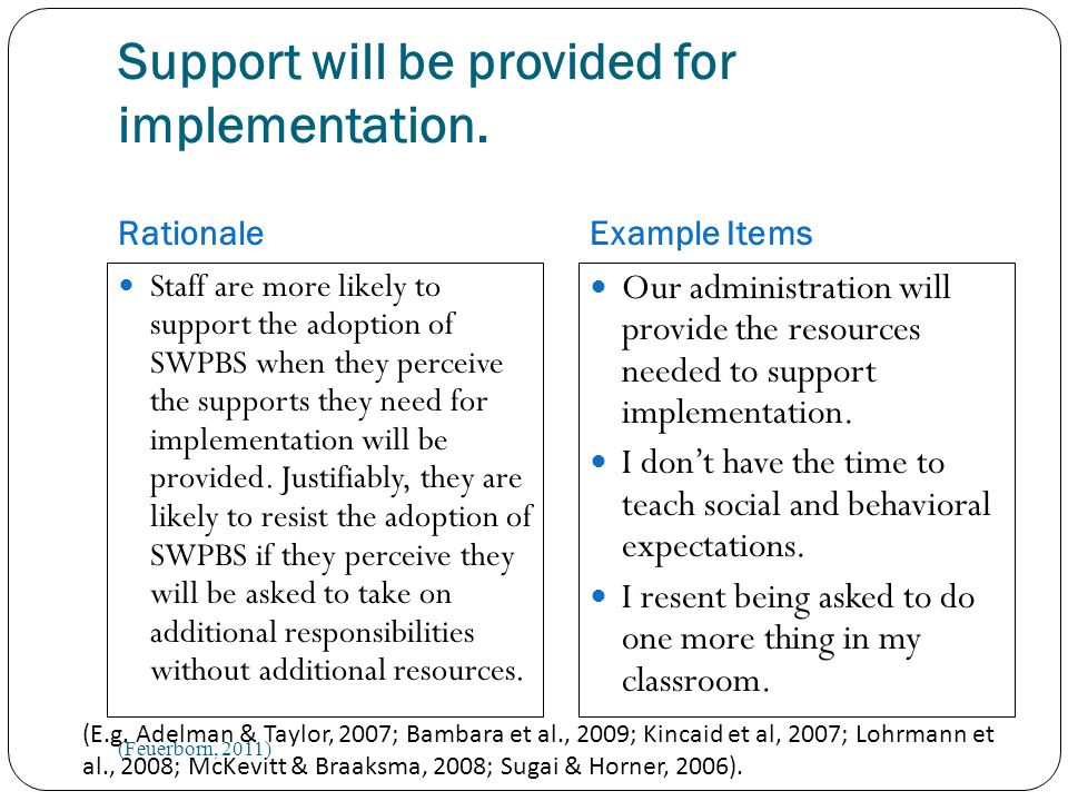 Support will be provided for implementation.