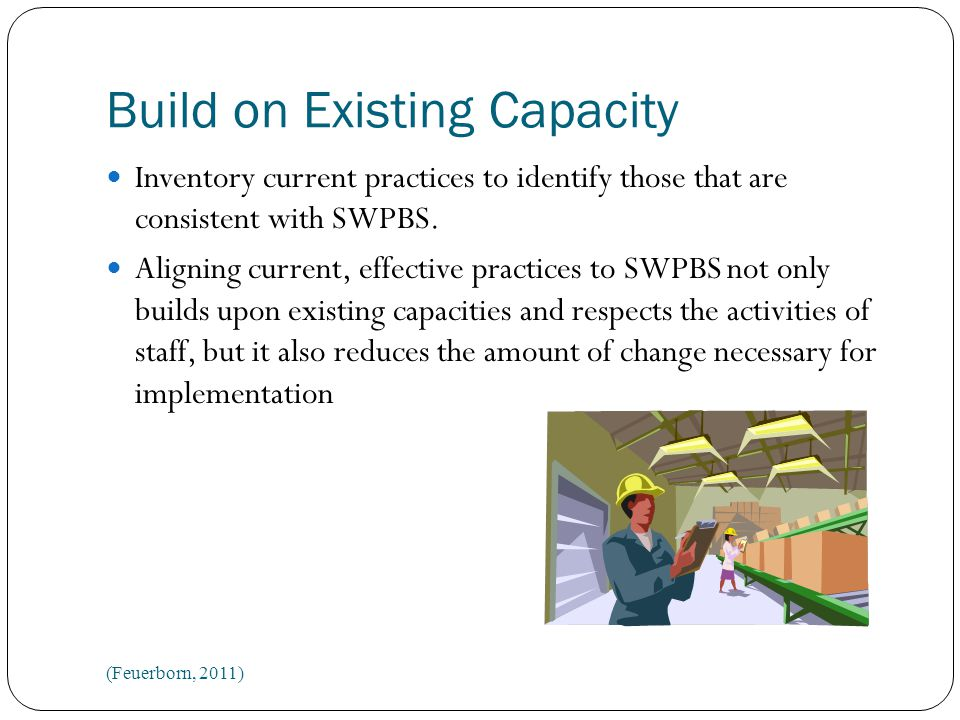 Build on Existing Capacity Inventory current practices to identify those that are consistent with SWPBS.