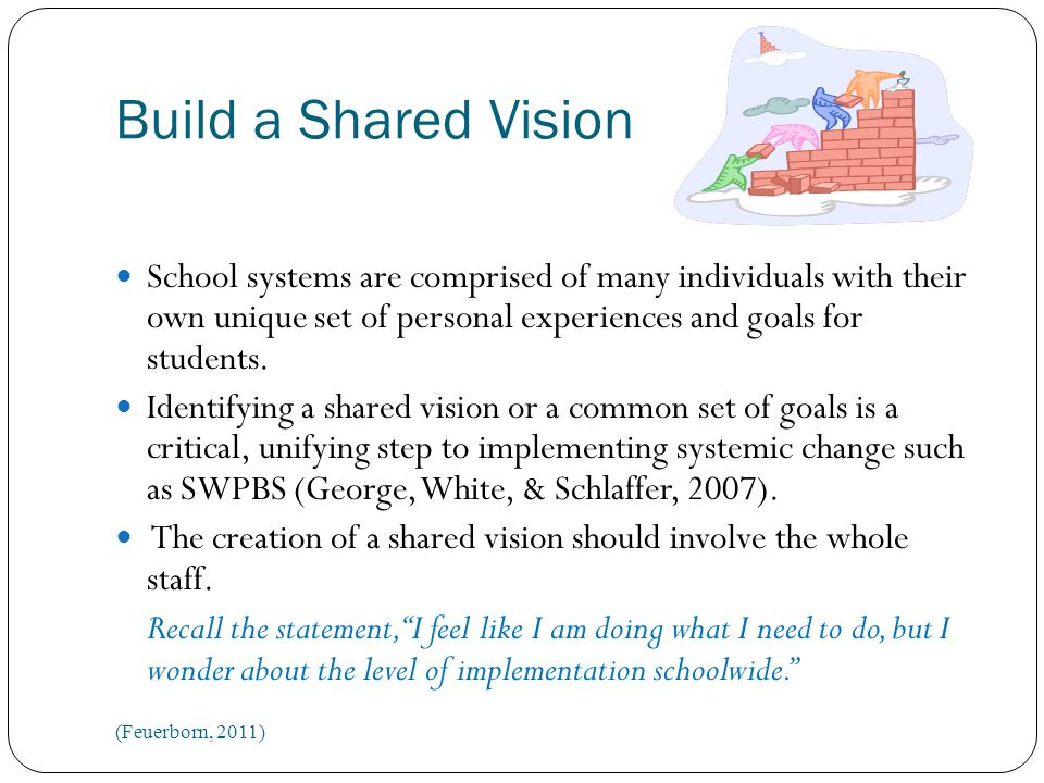 Build a Shared Vision School systems are comprised of many individuals with their own unique set of personal experiences and goals for students.